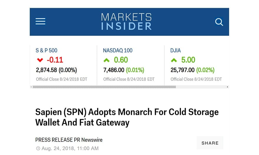 Business Insider – Sapien (SPN) Adopts Monarch For Cold Storage Wallet And Fiat Gateway