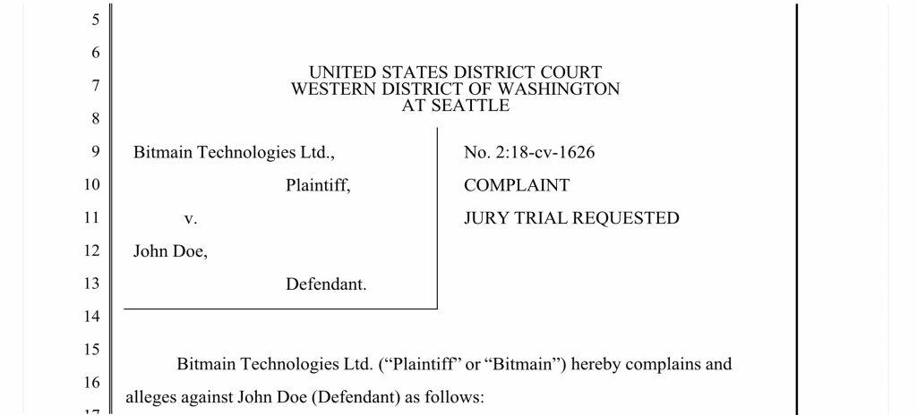 Bitmain Files 'John Doe' Lawsuit in the State of Washington