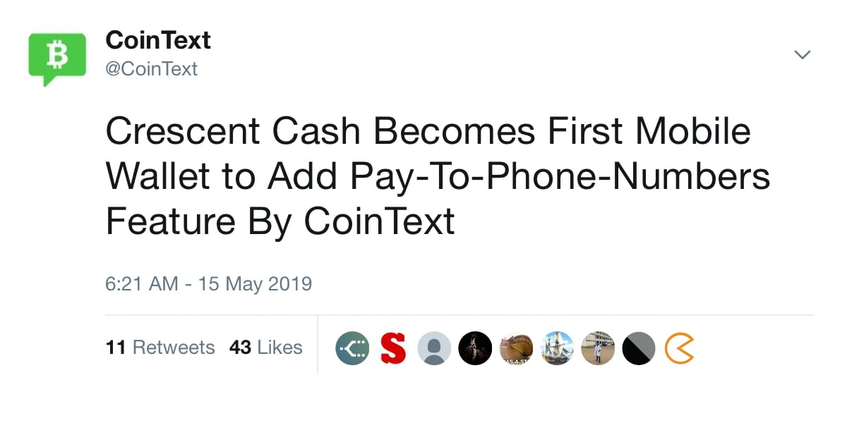 Crescent Cash Users Can Now Send Bitcoin Cash Via Text Message