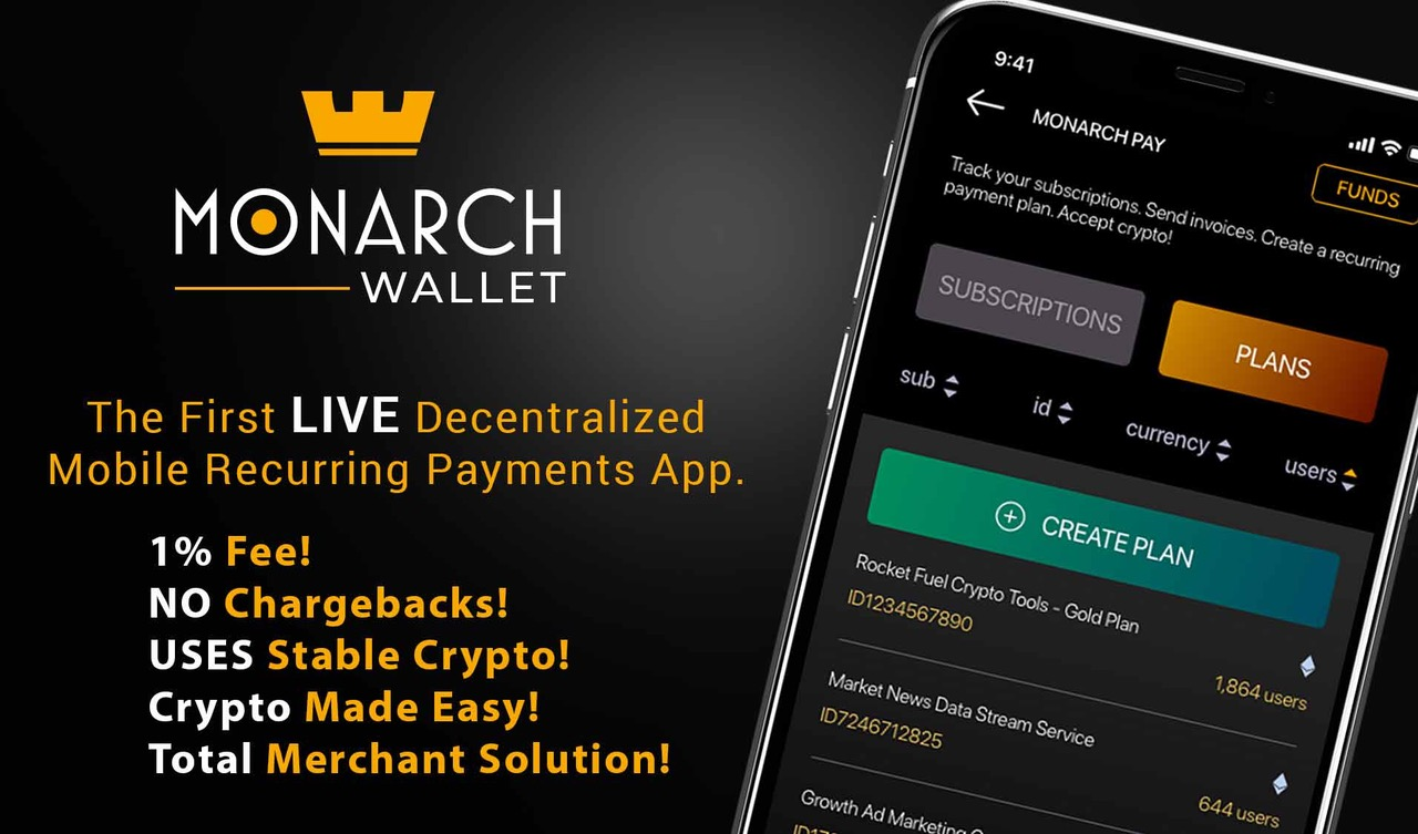 Recurring Crypto Payments live on MonarchWallet
