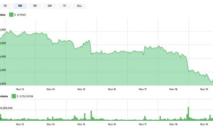 Bitcoin drops below $8200 as large transaction decrease 97% over past week