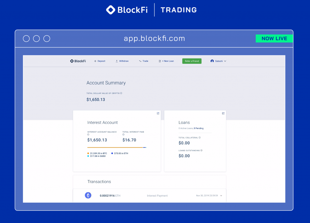 Crypto-Focused Lender Blockfi Launches Trading Platform
